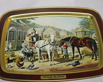 One Vintage Tray for Decoration or Use, with Painting on the Front, Wood Grain ? Preparing for Market, Rectangle, Currier & Ives, Americana