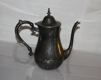 Vintage Oneida Coffee Pot Silver Plated, Antique, Maybe Older no Feet or Pedestal, Fancy Handle & Spout, Lid Stays Closed, Very Collectible