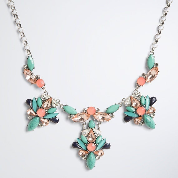 green statement necklace pink flower necklace green by cetro