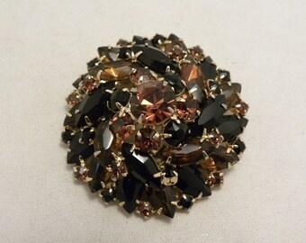 Vintage Stacked Amber & Black Glass Stone Pinwheel Brooch