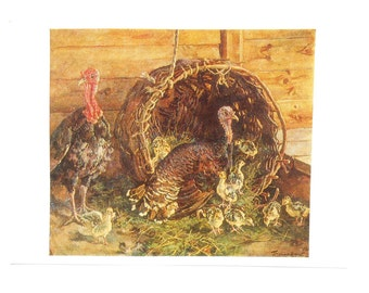 Vintage Postcard Turkeys P. Konchalovsky - 1977, Soviet Artist Publ.