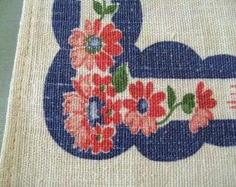 Vintage floral linen table runner