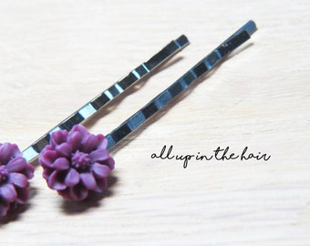 Purple Flower Hair Slides - Purple Bobby Pins