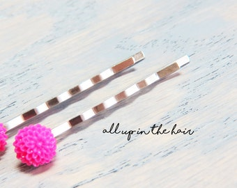 Pink Mum Bobby Pins - Pink Flower Bobby Pins