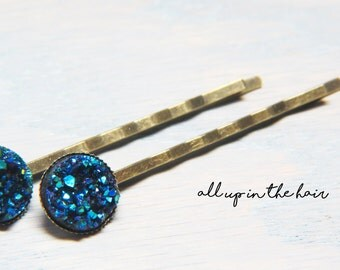 Blue Druzy Bobby Pins - Blue Druzy Hair Pins - Blue Bobby Pins