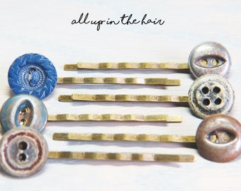 Blue Bobby Pins - Button Bobby Pins - Bobby Pin Sets - Hair Pins - Blue Hair Pins - Button Hair Pins