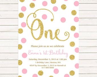 Pink and Gold 1st Birthday Invitation Girl, Any Age Pink Gold Dots Girl First Birthday Invitation, Polka Dot Printable Digital JPEG PDF 780