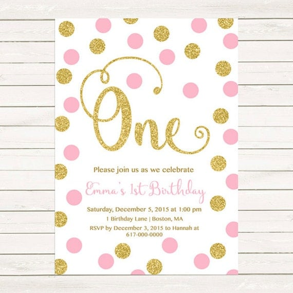 Pink And Gold St Birthday Invitation Girl Any Age Pink Gold Dots - 1st birthday invitations gold and pink