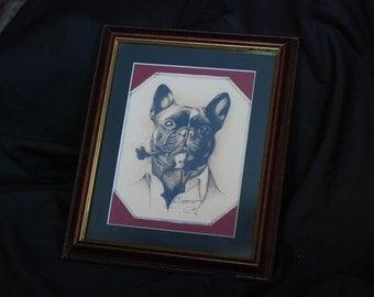 Smoking Boston Terrier Framed Print