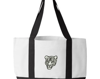 White Tiger Tote Bag. Embroidered Tiger Tote. White Tiger Tote Bag. Animal Lover Tote. Tiger Tote Bag. Tiger Bag.  7002
