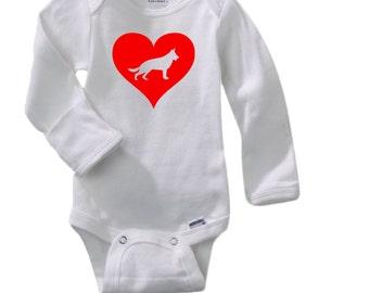 Gerber germany etsy love heart german shepherd gerber long sleeve onesie baby shower gift personalized baby negle Images