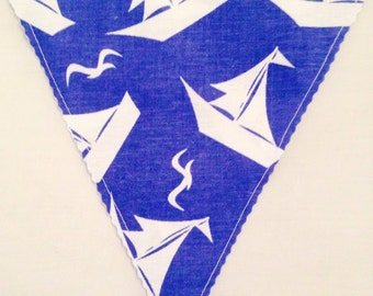 Handmade Fabric Bunting - Blue And White Nautical Theme: 3m Of Flags