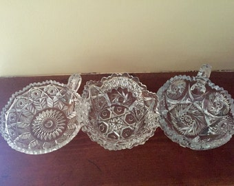 Nice Trio Of Vintage Mid Century Pressed Glass Small Bowls, Olive, Nut, Candy, Dishes, Excellent Condition.
