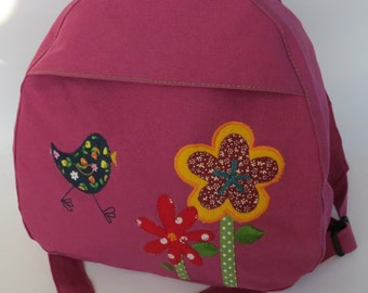 Toddler backpack bird with two flowers