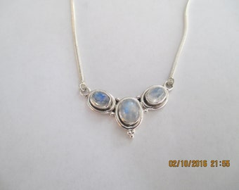 Rainbow Moonstone Sterling Silver Necklace..3 stones..Great Look.  New