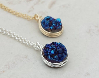 Druzy Pendant Necklace/Genuine Druzy/Druzy Jewelry/Layering Necklace /Bridesmaids Jewlery/ Free Shipping Canada