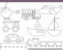Transportation OUTLINES Clipart Commercial Use Clip Art Digital Stamps Black and White Clipart