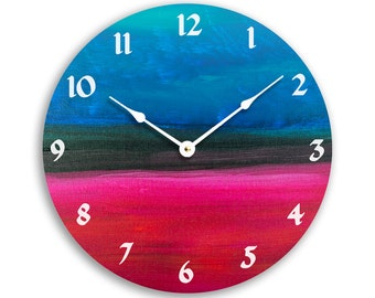 Contemporary abstract acrylic painting design 10 inch wall clock. Blue, black and red colors. CL3253