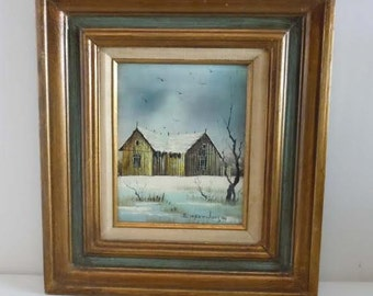 Everett Woodson b1933 American Barn Winter Snow Landscape Oil on Canvas Painting