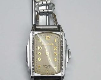 Rare Mens 30s Deco Bulova Skyscraper Wristwatch Digital Subsidiary Seconds