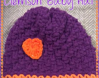 Orange & Purple Clemson Baby Game Day Hand Knit Hat