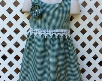 3T Green Gingham little girls dress