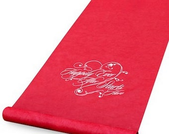 Happily Ever After Starts Here Red Wedding Aisle Runner