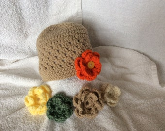 Crochet Hat with 5 Interchangeable Flowers