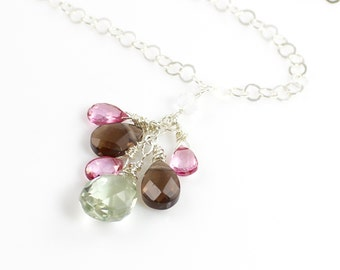 Cluster Gemstone Sterling Silver Necklace with Pink Topaz, Smoky Topaz and Green Amethyst Briolettes