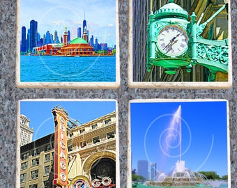Chicago Coasters Heat Set, Set of 4 Tumbled Marble
