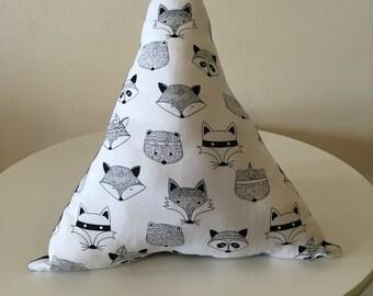 Woodland animal decorative pillow Monochrome Geometric Boys Room Decor Fox Bear Raccoon