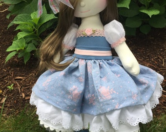 Ella ,Handmade Doll, Doll, Fabric Doll, Cloth doll