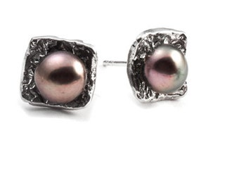 Large Round Earrings - Sterling Silver with Pearls