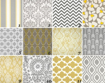 "50"" Two Rod curtain drapery panels designer window treatment  50 x 84 Extra long Premier Prints Yellow Grey White curtain"