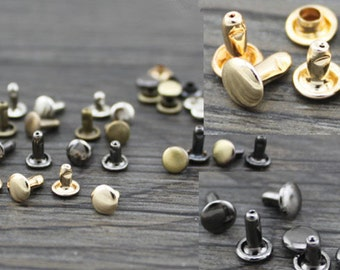 20 sets of Double-Cap Plated Rivets, Flat Head, 6mm, 8mm, 9mm, 10mm,12mm, Silver, Anti-brass,Golden,Black,  For Leather Bags, Notebook,Belt.