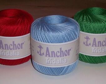 No. 10 Crochet Cotton Thread ~ 3 Color Choices ~ Anchor Tridalia ~ Three 50g balls ~ Best Selling Item