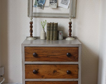 Small Upcycled  Chest of Drawers in Mousse Grey