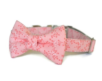 Light Coral Bow Tie Dog Collar, Dog Bow Tie Collar, Coral Bow For Dog, Girl Bow Tie Collar, Coral Dog Bow Tie, Collar With Bow Tie