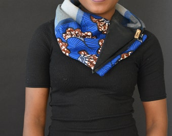 warm weather scarf, blue scarf, winter scarf, wool blend coating scarf, made in Canada, African print scarf, gift for her, coomon