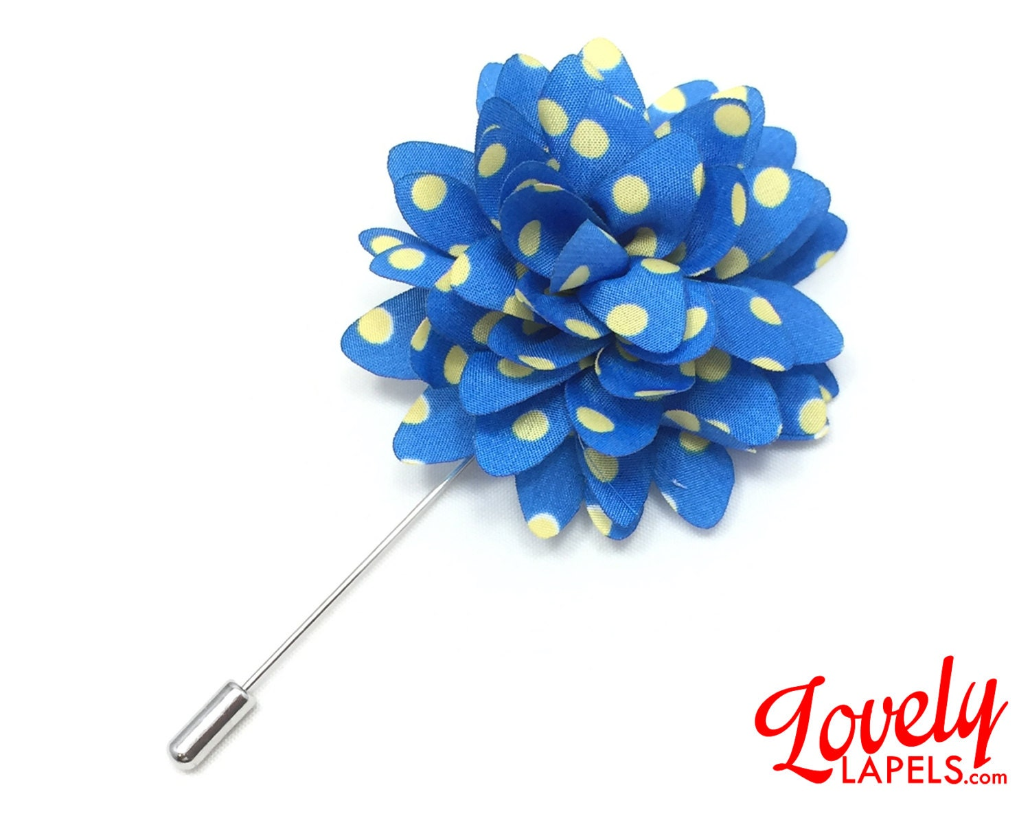 FLP1814 Flower Lapel Pin Blue with Yellow Dots by LovelyLapels
