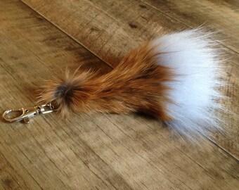 Irish Fox fur ball keychain for car key ring Bag Pendant - Lucky Irish Charm - Fur measures 6 inches