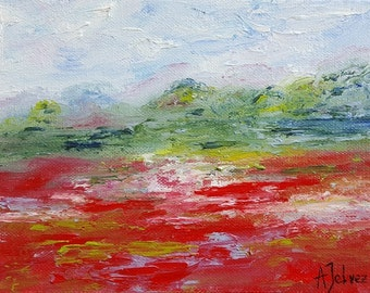 "Impressionist painting Poppy art Original landscape oil painting Poppy painting Small oil painting Landscape painting Red poppies décor 6x8"""
