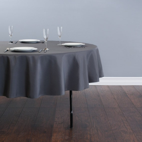 90 Inch Round Charcoal Gray Tablecloth Polyester Wedding