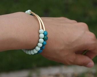 Green bar beaded Bracelet, Bar bracelet, Mint bracelet, Teal bracelet, Stacking bracelet, Gold Bar bracelet, Delicate bracelet