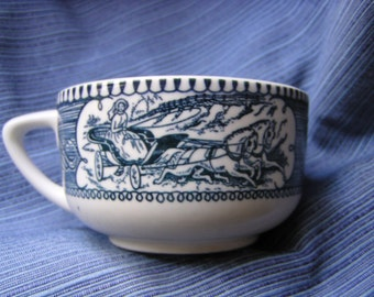 Royal China Currier & Ives (Blue) Flat Tea Cup