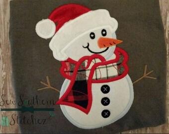 Santa Hat Snowman Applique Design ~ Instant Download