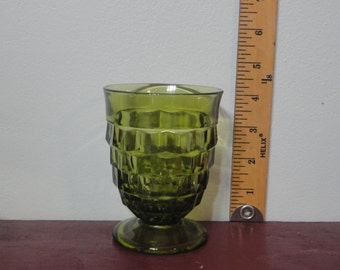 Vintage Fostoria American Whitehall Cube Avocado Large Footed Tumblers set of Six (6)