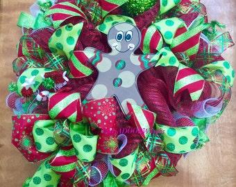 Gingerbread Christmas Wreath, Christmas Deco Mesh Wreath, Winter Whimsical Wreath, Holiday Wreath, Christmas Decor, Gingerbread Man Wreath