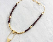 Garnet + Gold Double Triangle Choker | 14k Gold Filled Chain | Gemstone Necklace|