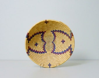 Vintage Hopi Coiled Bowl Basket, Second Mesa, Native American Art, Southwestern, Mid Century